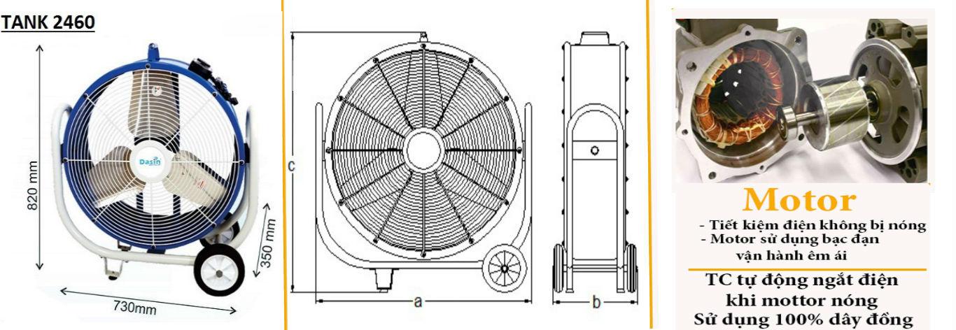 Quạt Tank-2460 motor lõi đồng