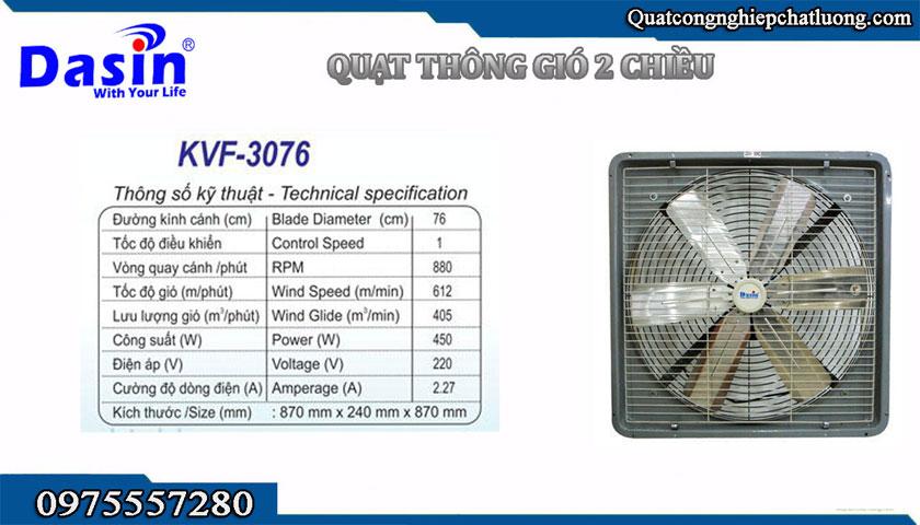 quạt hút công nghiệp Dasin KVF-3076 chính hãng