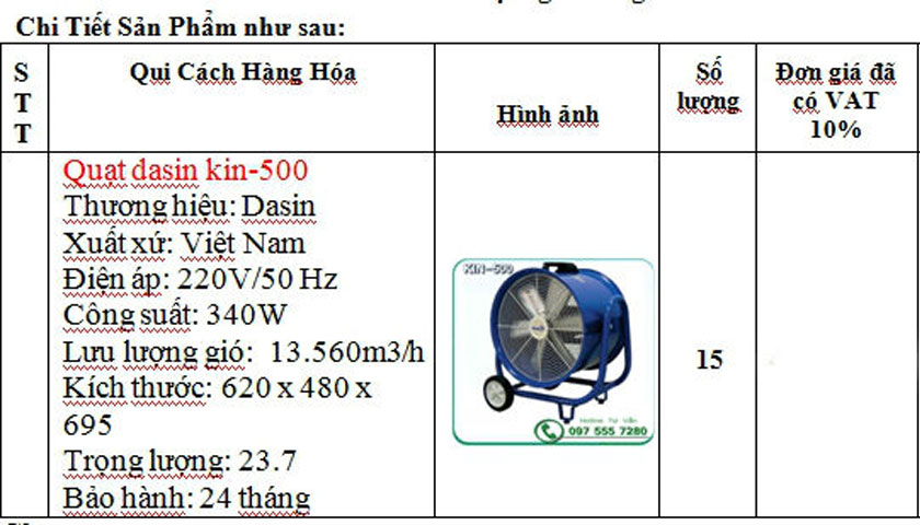 Quạt hút di động Dasin KIN-500